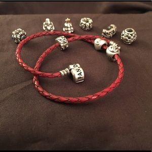 Pandora Leather Wrap w/charms
